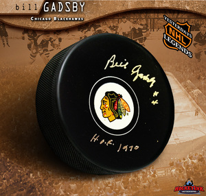BILL GADSBY Signed Chicago Blackhawks Puck - HOF