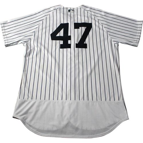 Photo of Jordan Montgomery New York Yankees 2017 Game-Used #47 Pinstripe Jersey (5/12/2017)(Size 48)