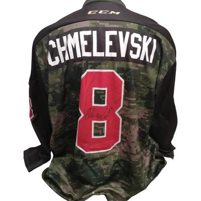 #8 Sasha Chmelevski 67's Game Worn Army Theme Jersey