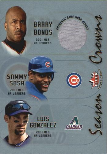 Photo of 2002 Fleer Triple Crown Season Crowns Game Used #1A Barry Bonds HR Jsy/Sammy Sosa/Luis Gonzalez