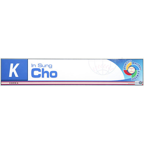 Photo of 2006 Inaugural World Baseball Classic: In Sung Cho Locker Tag (KOR) Game-Used Locker Name Plate