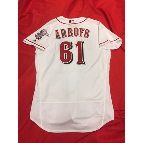 Photo of Bronson Arroyo -- Game-Used Jersey -- First Win of 2017 -- Arroyo's Final Major League Season -- Reds vs. Orioles on April 18, 2017