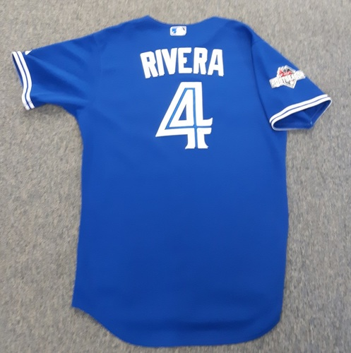 Photo of Authenticated Game Used Postseason Jersey - #4 Luis Rivera (October 14, 2015: ALDS Game 5). Size 46.