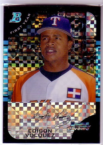 Photo of 2005 Bowman Chrome Draft X-Fractors #134 Edison Volquez FY