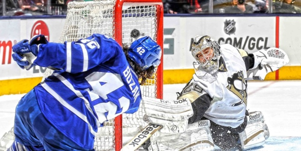Bozak,J Unsigned 14x28 Canvas Leafs Horizontal vs Penguins