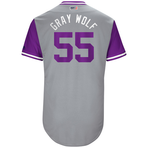 "Photo of Jonathan ""Gray Wolf"" Gray Colorado Rockies Game-Used Players Weekend Jersey"