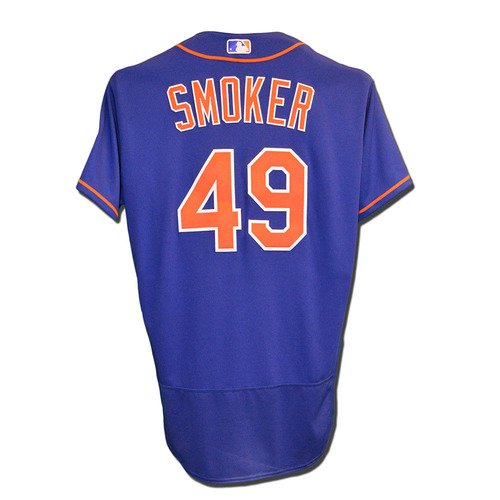 Photo of Josh Smoker #49 - Game Used Blue Alternate Home Jersey - 0.1 IP, 1 K - Mets vs. Braves - 9/26/17