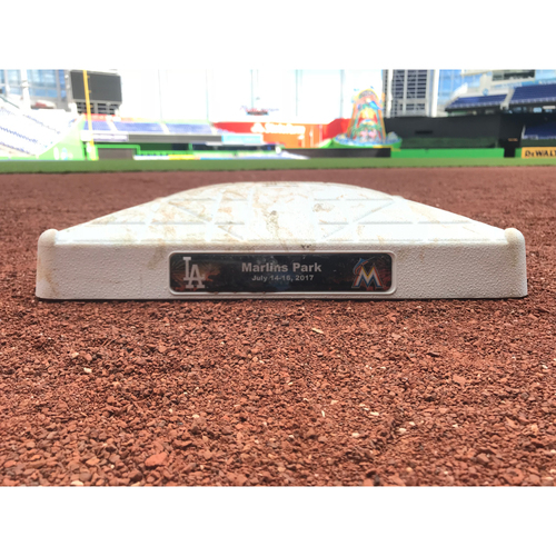 Photo of Game-Used Base: Marlins vs Dodgers - 7/15/17 (Two Dodgers Milestones)