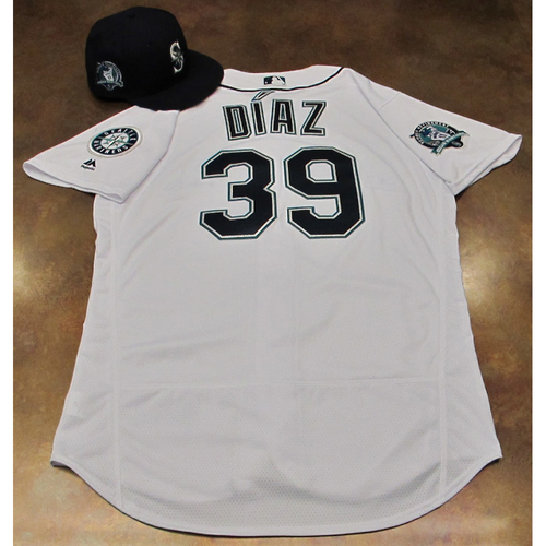 Photo of Edwin Diaz White Home Game-Used Jersey & Cap With Edgar Martinez Patch Worn 8-12-2017