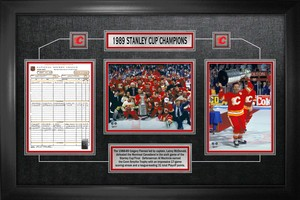 Calgary Flames - Framed Scoresheet Collage 1989 Stanley Cup Champions