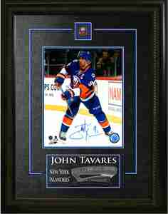 John Tavares - Signed & Framed 8x10 Etched Mat - New York Islanders Blue Action
