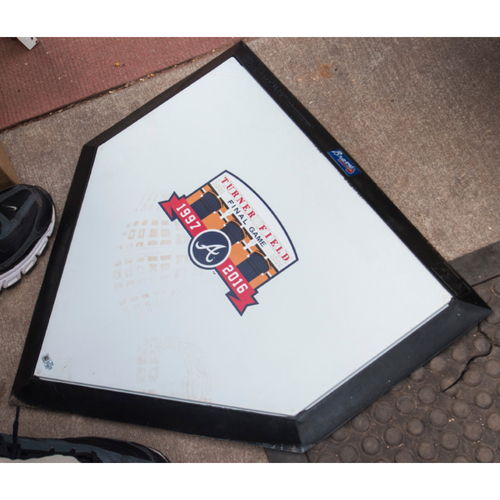 Photo of Homeplate Used During the Ceremonial First Pitch before the Final Game at Turner Field - Ceremonial First Pitches thrown by Tom Glavine, John Smoltz, and Greg Maddux