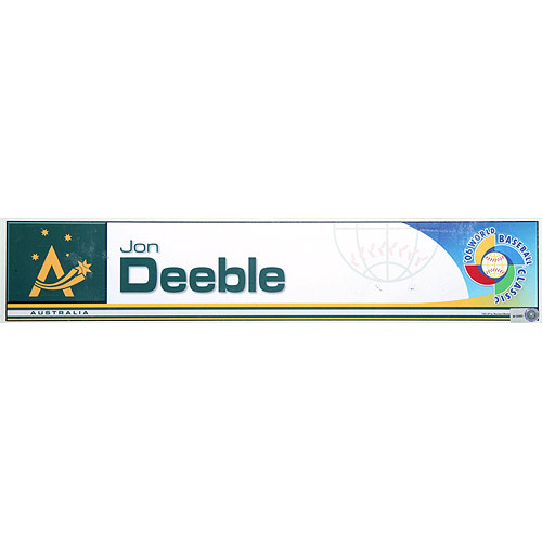 Photo of 2006 Inaugural World Baseball Classic: Jon Deeble Locker Tag (AUS) Game-Used Locker Name Plate