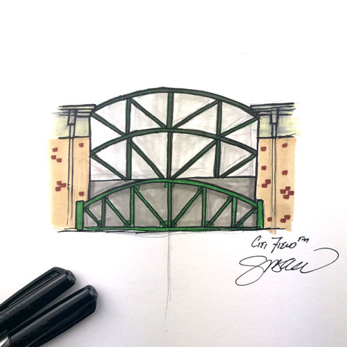 Photo of Daily Sketch - 30 Ballparks in 30 Days: Citi Field Original Inked Illustration by S. Preston