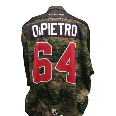 #64 Mikey DiPietro 67's Game Issued Army Theme Jersey