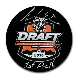 Aaron Ekblad Autographed 2014 NHL Entry Draft Puck w/1ST PICK Inscription (Florida Panthers)