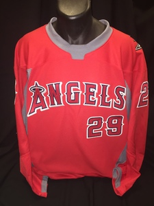 Angels branded hockey jersey worn by #29 Rod Carew for Honorary Puck Drop Ceremony on Angels Night at Honda Center