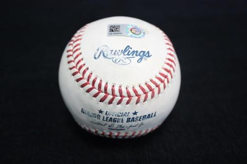 Photo of Game Used Baseball from Pirates vs. Reds on 10/3/15 - Burnett to Bourgeois, Flied Out