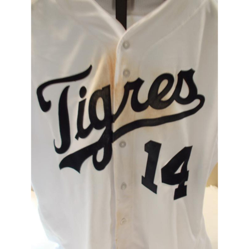 Photo of Game-Used Mike Aviles Fiesta Tigres Jersey