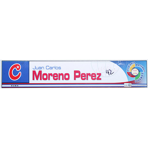 Photo of 2006 Inaugural World Baseball Classic: Juan Carlos Moreno Perez Locker Tag (CUB) Game-Used Locker Name Plate
