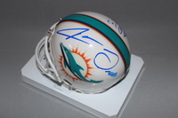 NFL - DOLPHINS JARVIS LANDRY AND JAY AJAYI SIGNED DOLPHINS MINI HELMET (SMEAR ON LANDRY SIGNATURE)