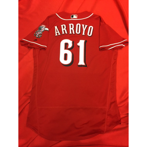 Photo of Bronson Arroyo -- Game-Used Jersey -- Appeared as a Pinch-Hitter in the 10th Inning (Third & Final Pinch-Hit Appearance of His Career) -- Arroyo's Final Major League Season -- Braves vs. Reds on June 3, 2017