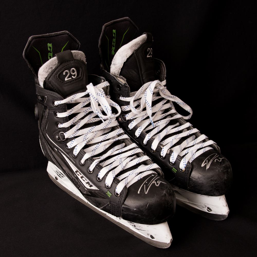 Leon Draisaitl #29 - Autographed 2016-17 Edmonton Oilers Game-Worn CCM Ribcore 50K Skates