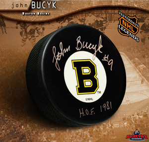 JOHN BUCYK Signed Boston Bruins Puck - HOF