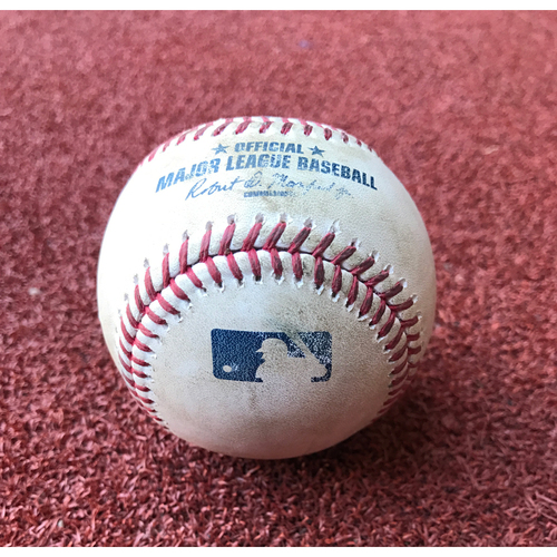Game-Used Baseball - Jean Segura Single vs. Chris Hatcher & Michael Bourn Foul