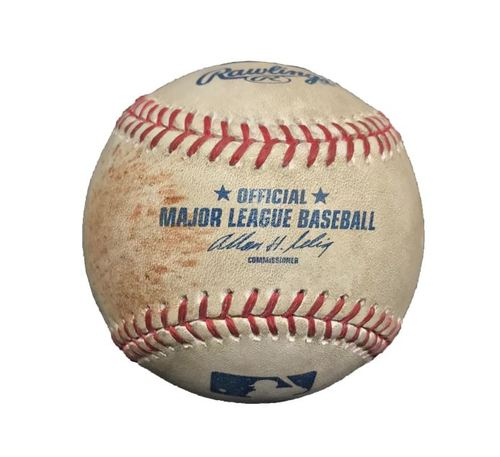 Photo of Game-Used Baseball from Pirates vs. Nationals on 5/4/13 - Strasburg Strikeout