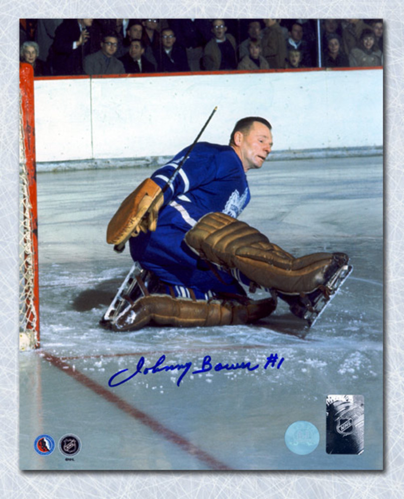 Johnny Bower Toronto Maple Leafs Autographed Goalie Pad Save 16x20 Photo