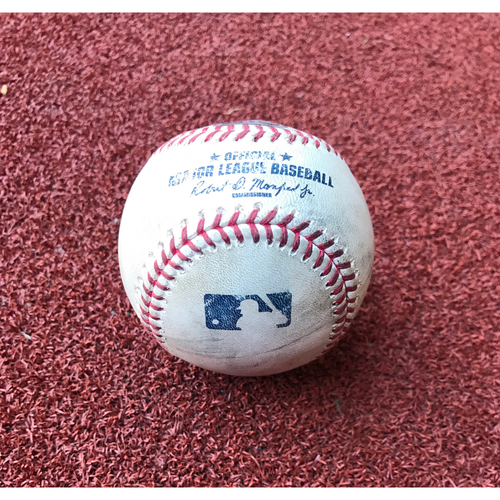 Photo of Game-Used Baseball - Chris Owings Triple vs. Jose Ramirez & Phil Gosselin Foul