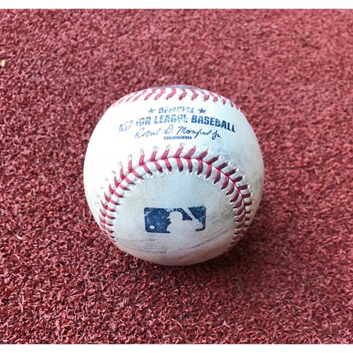 Photo of Game-Used Baseball - Chris Owings Triple vs. Jose Ramirez & Phil Gosselin Foul