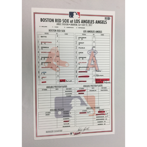 July 21, 2017 Red Sox at Angels Game-Used Lineup Card - Red Sox Win 6 - 2, Sale wins 12th game of the year