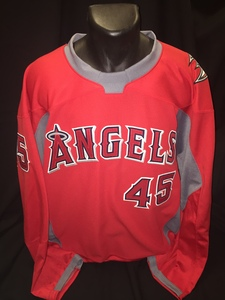 Angels branded hockey jersey worn by #45 Tyler Skaggs for Honorary Puck Drop Ceremony on Angels Night at Honda Center