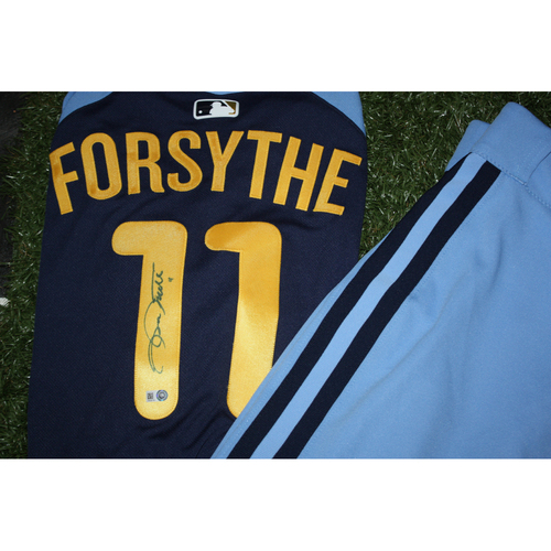 Photo of Logan Forsythe Game Worn and Autographed Jersey from Turn Back the Clock Night
