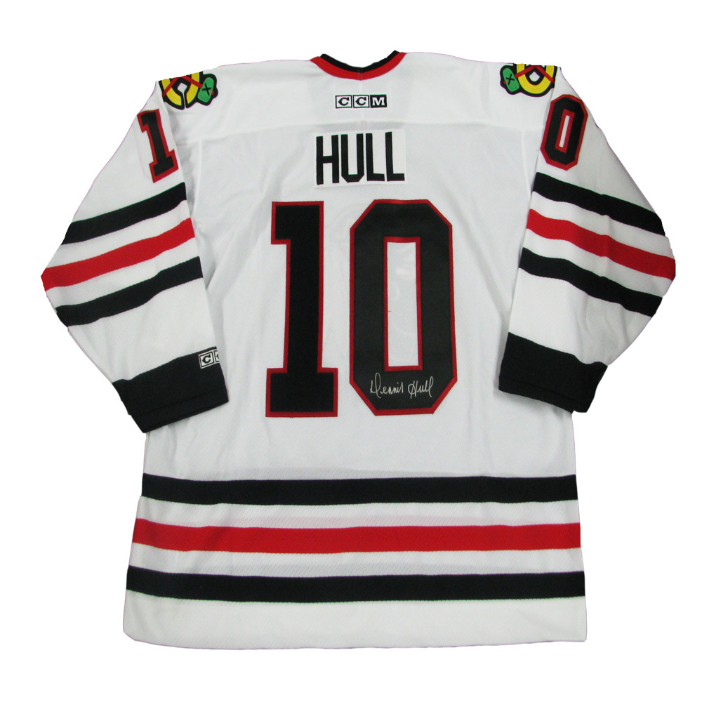 DENNIS HULL Signed Chicago Blackhawks White CCM Jersey