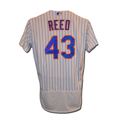 Photo of Addison Reed #43 - Game Used White Pinstripe Jersey - Mets vs. Phillies - 9/23/16