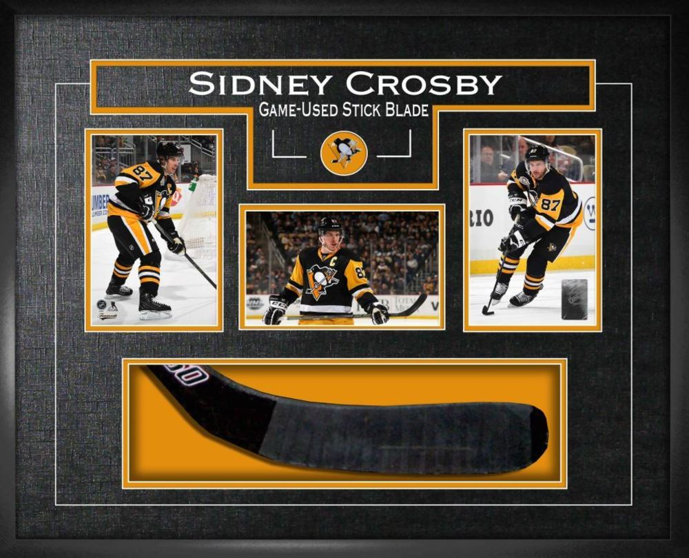 Sidney Crosby - Signed & Framed Game-Used Stick Blade with 3 photos