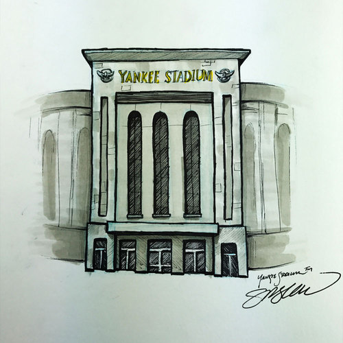 Photo of Daily Sketch - 30 Ballparks in 30 Days: Yankee Stadium Original Inked Illustration by S. Preston