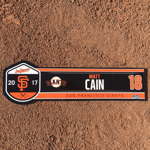 Photo of San Francisco Giants - 2017 Game-Used Regular Season Locker Tag - Matt Cain