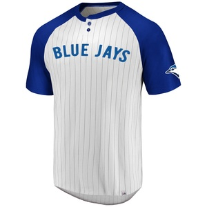 Toronto Blue Jays Everything In Order Striped Henley T-Shirt by Majestic