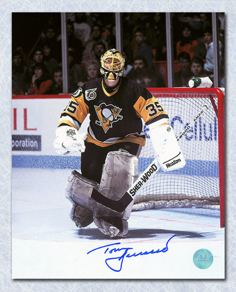 Tom Barrasso Pittsburgh Penguins Autographed Goalie Action 8x10 Photo