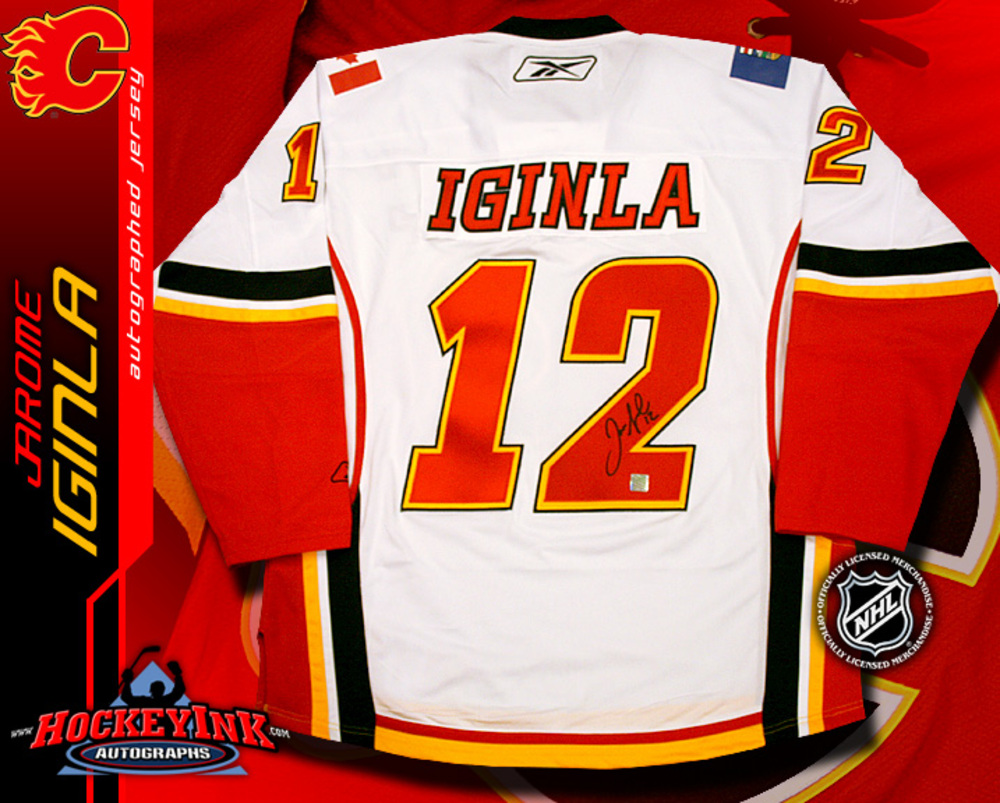 JAROME IGINLA Signed Calgary Flames RBK Premier White Jersey
