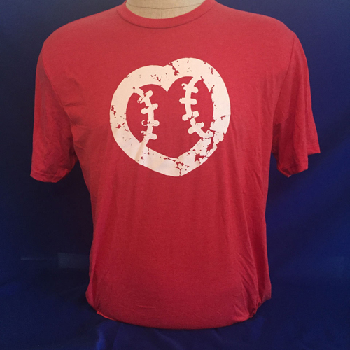 Photo of UMPS CARE AUCTION: UMPS CARE Baseball Heart Logo Men's T-Shirt, Red with White Heart, Size 2XL