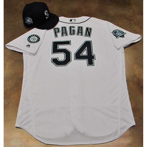 Photo of Emilio Pagan White Home Game-Used Jersey & Cap With Edgar Martinez Patch Worn 8-12-2017