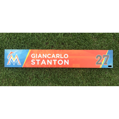 Giancarlo Stanton Game-Used Locker Tag - HR #58 & #59 of 2017