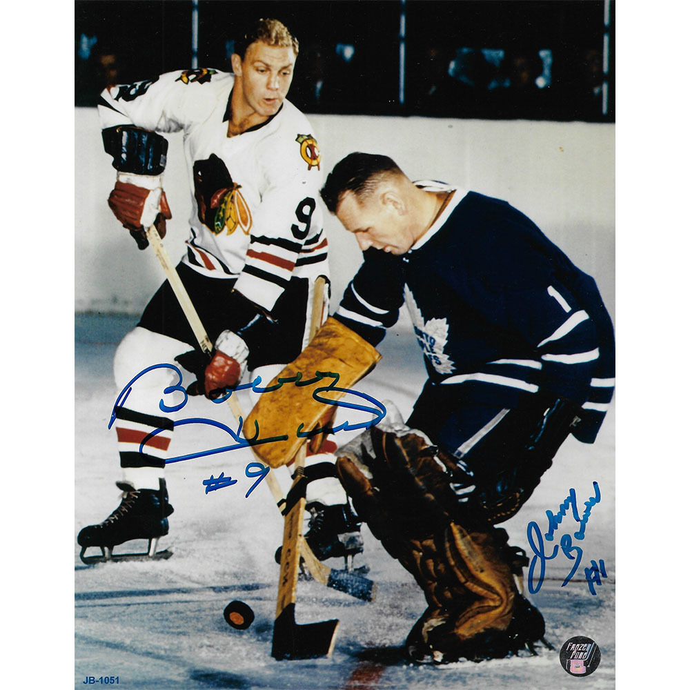Johnny Bower & Bobby Hull Autographed 8X10 Combo Photo (Chicago Blackhawks, Toronto Maple Leafs)