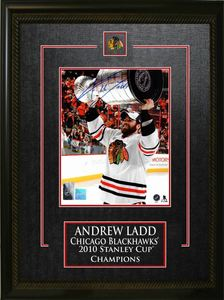Andrew Ladd - Signed & Framed 8x10 Etched Mat - Chicago Blackhawks 2010 Raising Cup