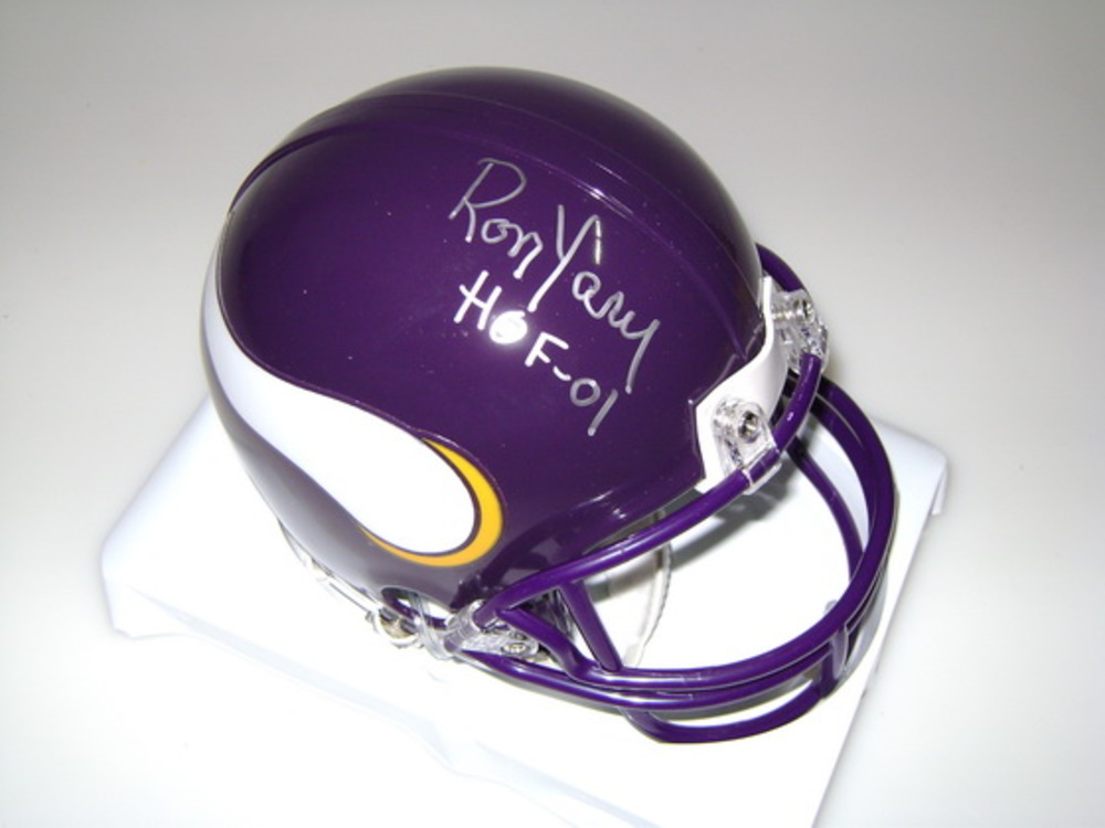 HOF - VIKINGS RON YARY SIGNED VIKINGS MINI HELMET